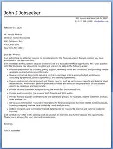 resume cover letter exles financial analyst cover letter financial analyst sle career