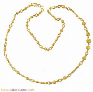 Gold Indian Chain (fancy chain) - ChLo8880 - 22Kt Gold ...