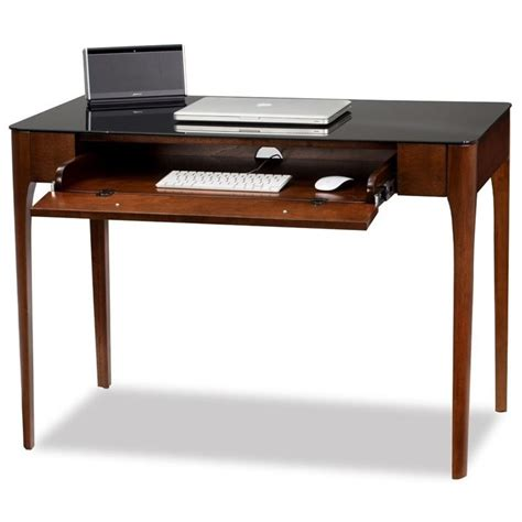 glass top writing desk leick obsidian glass top writing desk in chestnut 11111