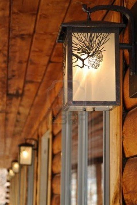 decoration outdoor lighting fixtures at a log cabin motel