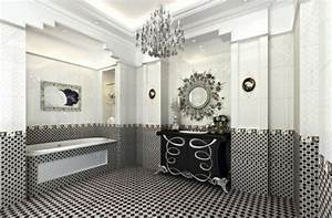 Carrelage Salle De Bain Noir Et Blanc : 55 idees de carrelage design pour votre salle de bains moderne ~ Dallasstarsshop.com Idées de Décoration