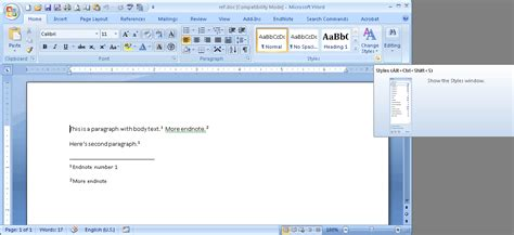 Microsoft Office Word 2007 microsoft office word 2007 endnote cross reference