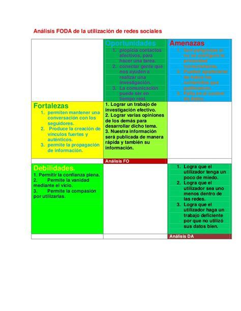 Análisis Foda De La Utilización De Redes Sociales