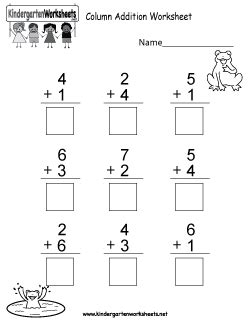 kindergarten addition worksheets learning  add