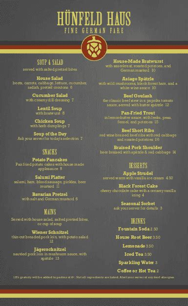 german cuisine menu german restaurant menu german menus