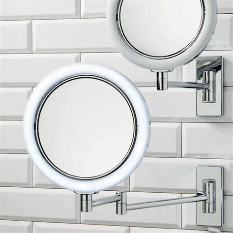wall mounted arm led lighted 7x magnifying mirror
