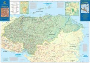large detailed road map  honduras honduras large
