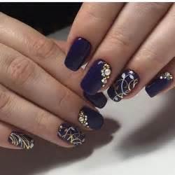 Dark blue nail art design g
