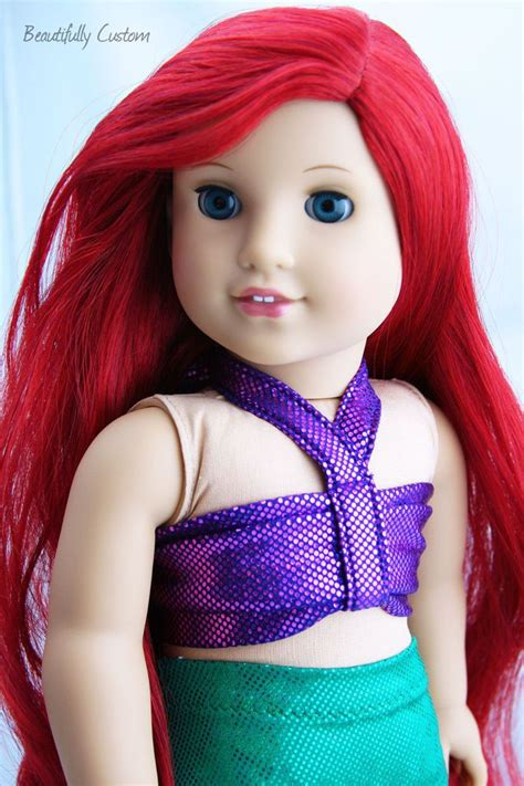 Custom Ooak American Girl Doll Mermaid Long Bright Red