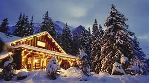Christmas cabin mountain winter snow holiday