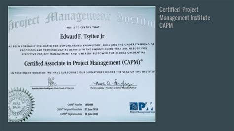 Capm Certified Resume by Visual Resume For Ed Tsyitee Jr Capm