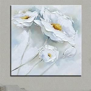Toile Blanche A Peindre : peint la main fleur blanche peinture l 39 huile toile ~ Premium-room.com Idées de Décoration