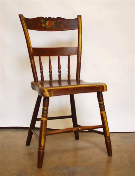 set of six pennsylvania painted hitchcock dining chairs