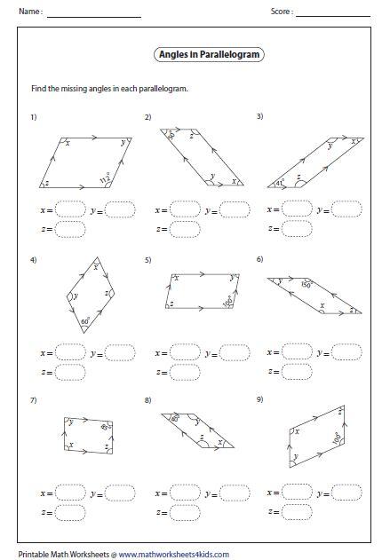 parallelogram worksheet quadrilateral worksheets