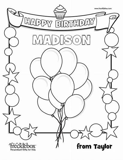 Coloring Birthday Pages Happy Custom Personalized Colouring