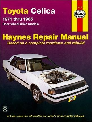 old cars and repair manuals free 1985 toyota mr2 electronic valve timing toyota celica repair and service manual 1971 1985 haynes 92015
