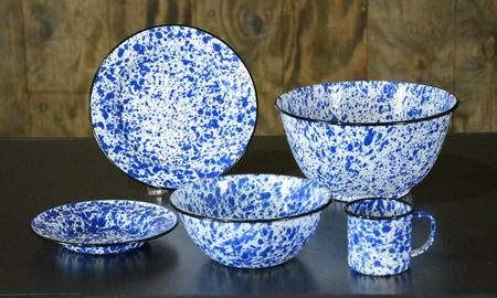 speckled blue tin dishware dinner plate china