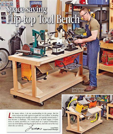 flip top tool bench plans woodarchivist