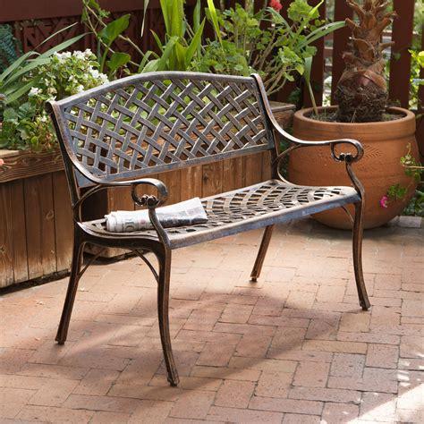 Cast Aluminum Antique Copper Arched Back Bench Outdoor