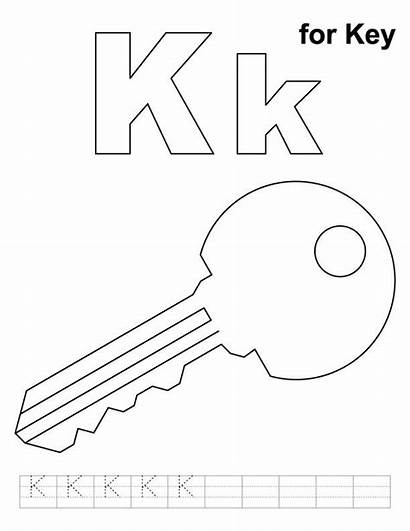 Key Coloring Pages Printable Alphabet Practice Letter