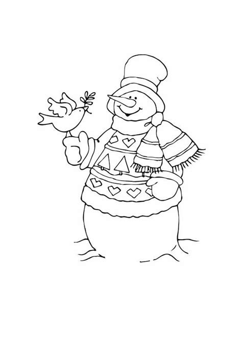 coloring page snowman  bird  printable coloring pages
