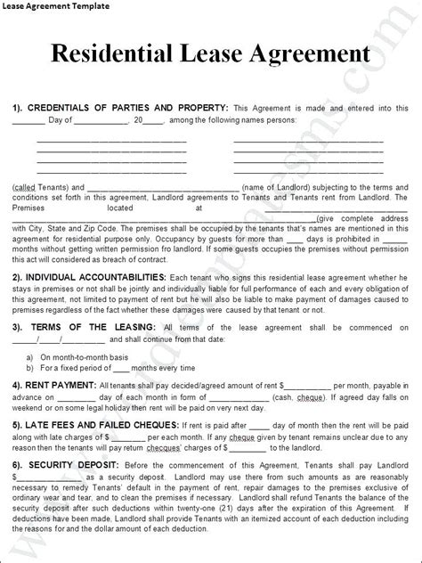 lease agreement template noshot residential lease agreement template noshot info Residential