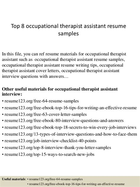 Occupational Therapy Assistant Resume Exle by Top 8 Occupational Therapist Assistant Resume Sles
