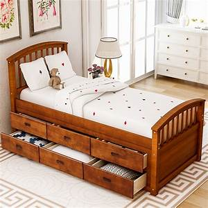 Lowestbest, Twin, Size, Platform, Bed, With, Storage, Solid, Wood, Bed, With, 6, Drawer-walnut