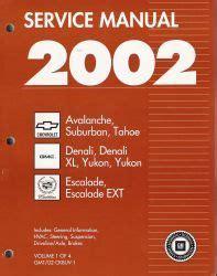 auto repair manual free download 2002 chevrolet suburban 1500 auto manual 2002 chevrolet avalanche suburban tahoe gmc yukon cadillac escalade ck 8 factory service