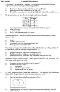 Probability Worksheet and Answers