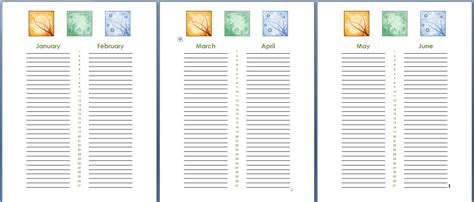 Birthday And Anniversary Calendar Template by Birthday And Anniversary Calendar Template Formal Word