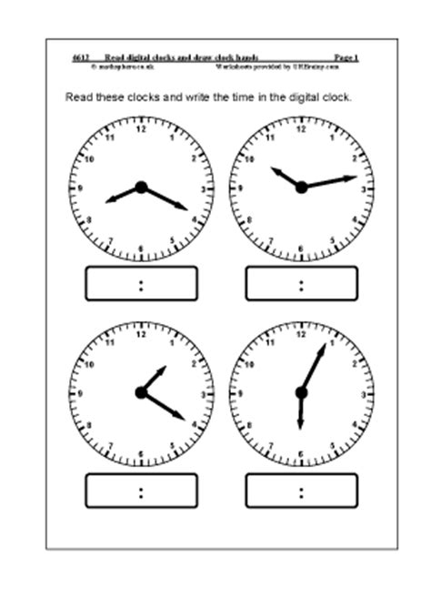 read digital clocks and draw clock measuring and