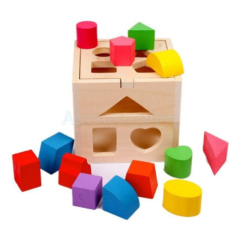 early learning wooden block shape sorting box children