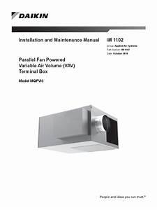 Daikin Im 1102 Lr Parallel Fan Powered Vav Box Manual