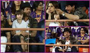 Shah Rukh Khan along with his son AbRam attends GL vs KKR ...