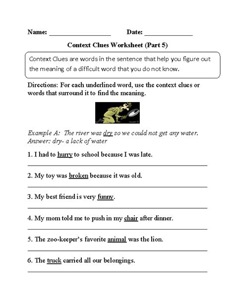 context clues worksheets 6th grade worksheets for all
