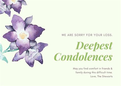printable custom sympathy card templates canva