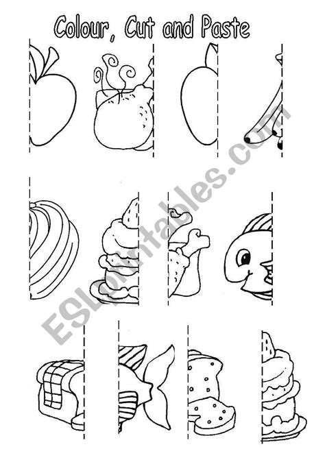 colour cut and paste food esl worksheet by sophia13 608 | 273139 1 Colour cut and paste Food