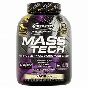 Muscletech Mass Tech Gainer Protein Powder  Vanilla  60g Protein  7 Lb