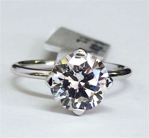 14k white gold round solitaire cubic zirconia engagement