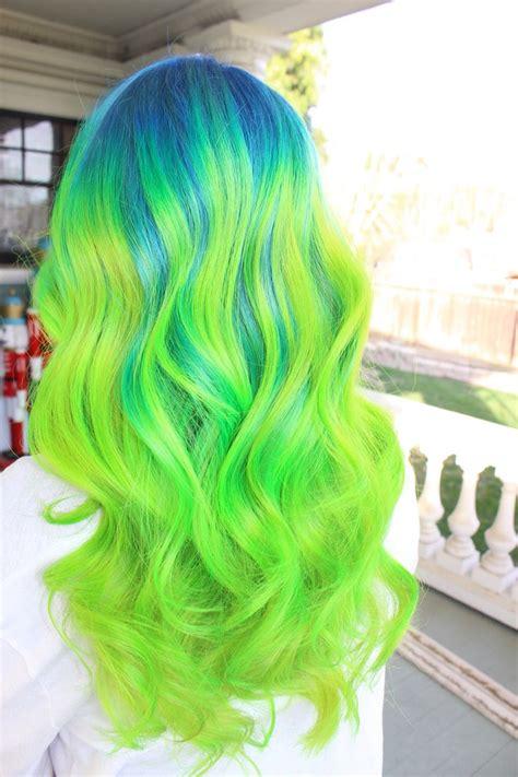 Neon Blue Green Hair Color Ombré Melt Pravana Theglam