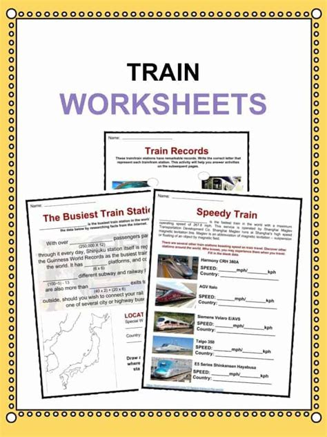 train facts worksheets history  train transportation
