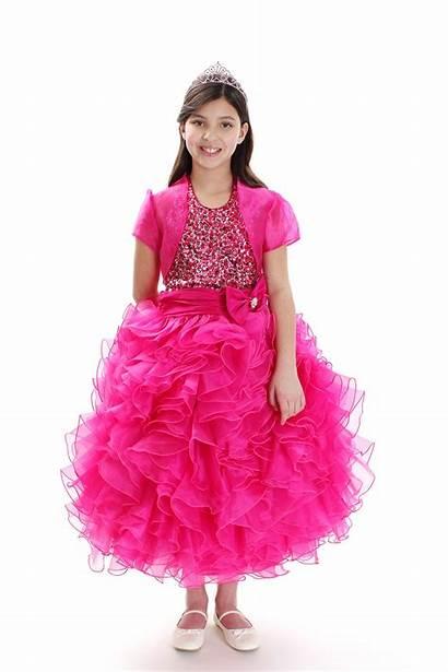 Sequin Fuchsia Matching Bolero Organza Dresses Pink
