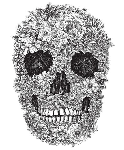 skull    flowers vector illustration stock vector illustration  doodle
