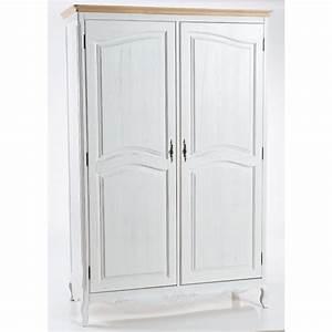 Armadio in legno bianco stile shabby con 2 ante cm 130x60x196h CollyShop