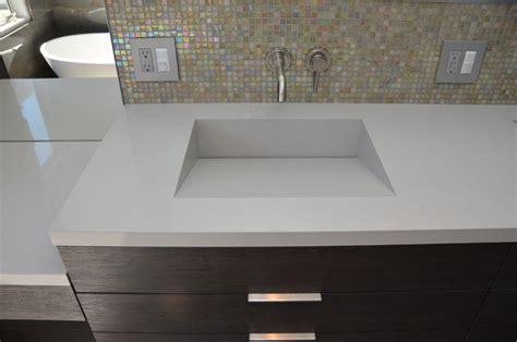 custom bathroom vanity tops with sinks quartz integrated sinks modern vanity tops and side