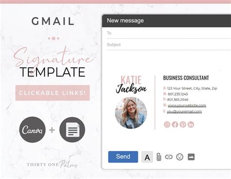 Gmail Email Signature Template for Canva Google Docs | Etsy