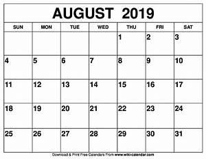 Calender August Free Printable August 2019 Calendar