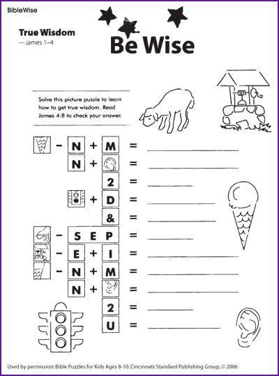 True Wisdom (puzzle) Kids Korner  Biblewise  Sunday School Worksheetsactivitiescrafts