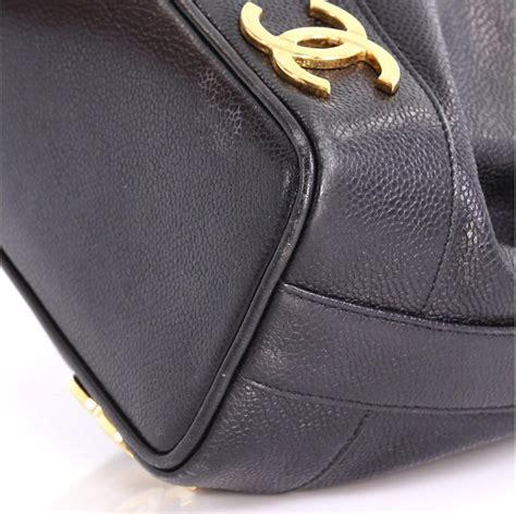 chanel vintage cc drawstring bucket bag caviar medium  stdibs